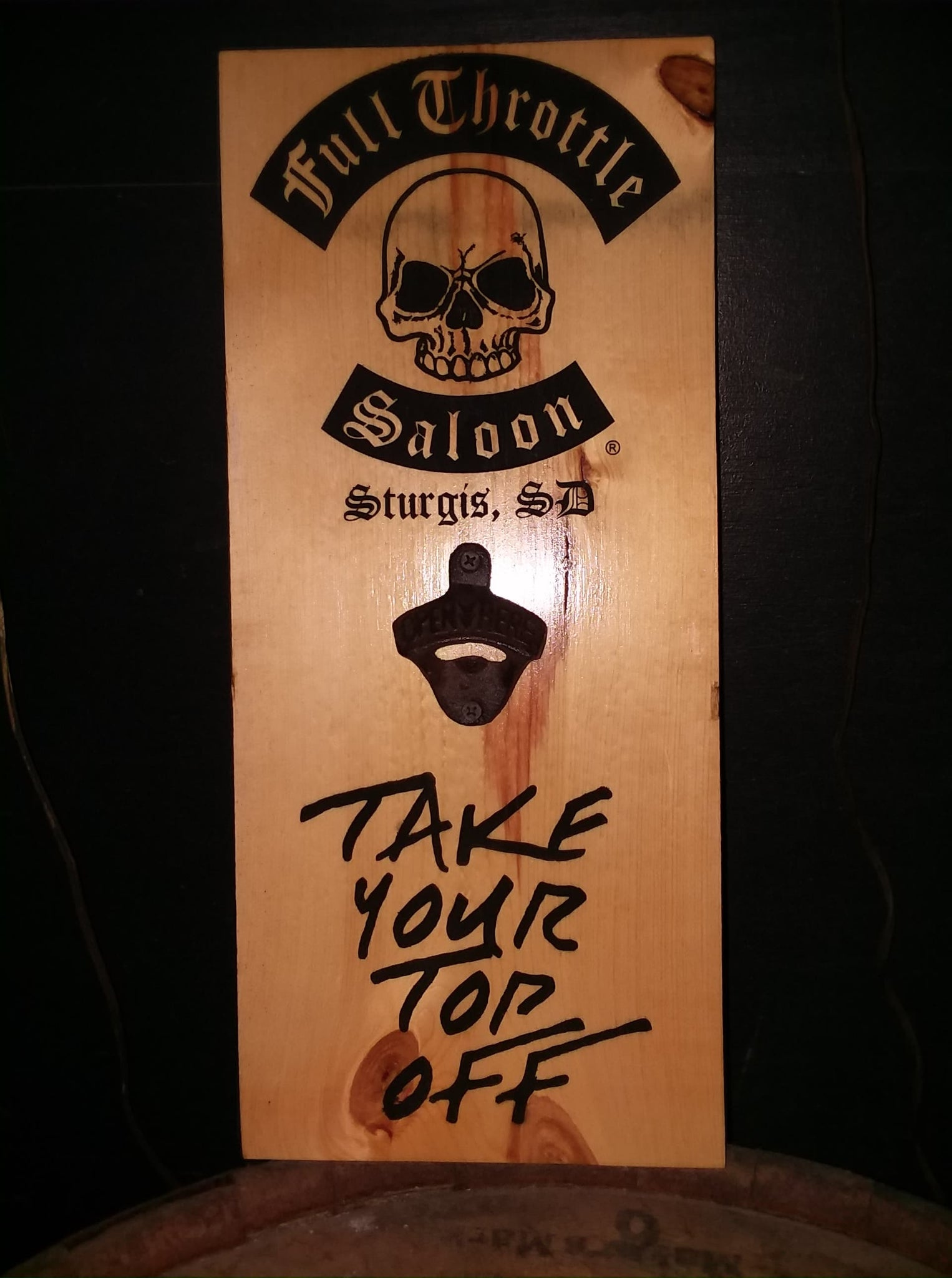 """Wood Engraved Bottle Opener Plaque """"Take Your Top Off!"""""""