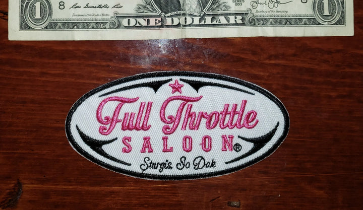 Patch - Full Throttle Saloon 4 x 1.75 in. Pink Script Oval Patch