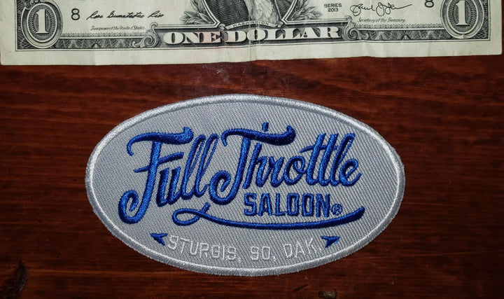 Patch - Full Throttle Saloon 4 x 2 in. Blue Script Oval Patch