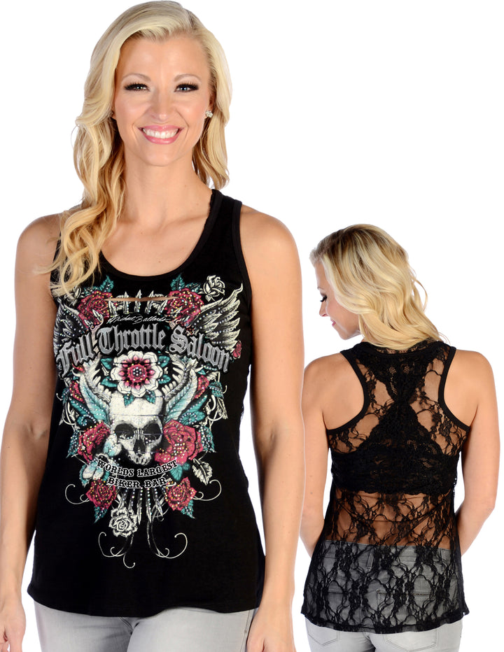 "FTS Ladies Libertywear FTS7583 - Women's ""Devilish Full Throttle"" tank top with lace back - black"