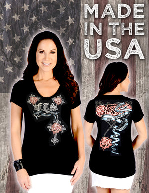 FTS Ladies Libertywear FT7164 - Women's Roses and Cross V-neck short sleeve - black