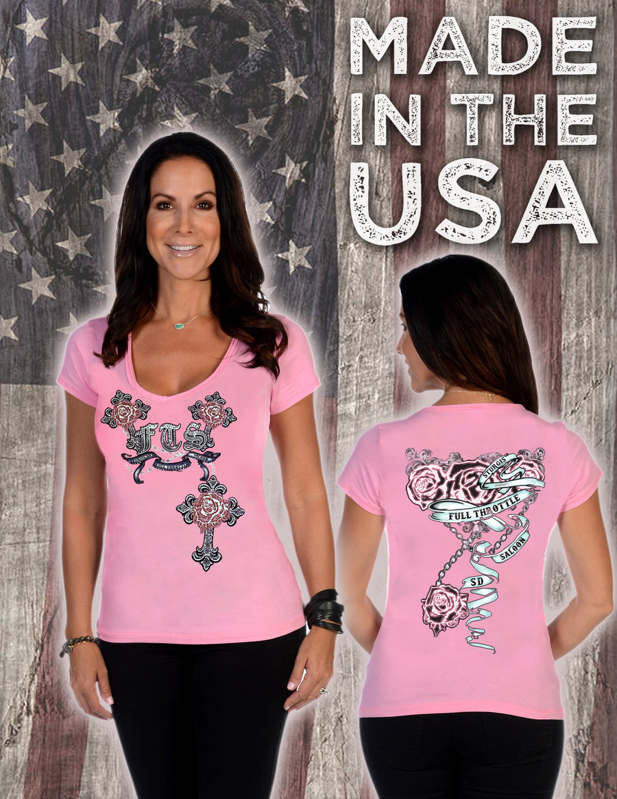 FTS Ladies Libertywear FT7164 - Women's Roses and Cross V-neck short sleeve - pink