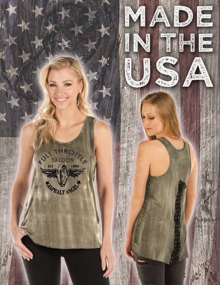 "FTS Ladies Libertywear FT7508 -  ""Asphalt Angel"" Women's loose fit tank top with lazer cut sides"
