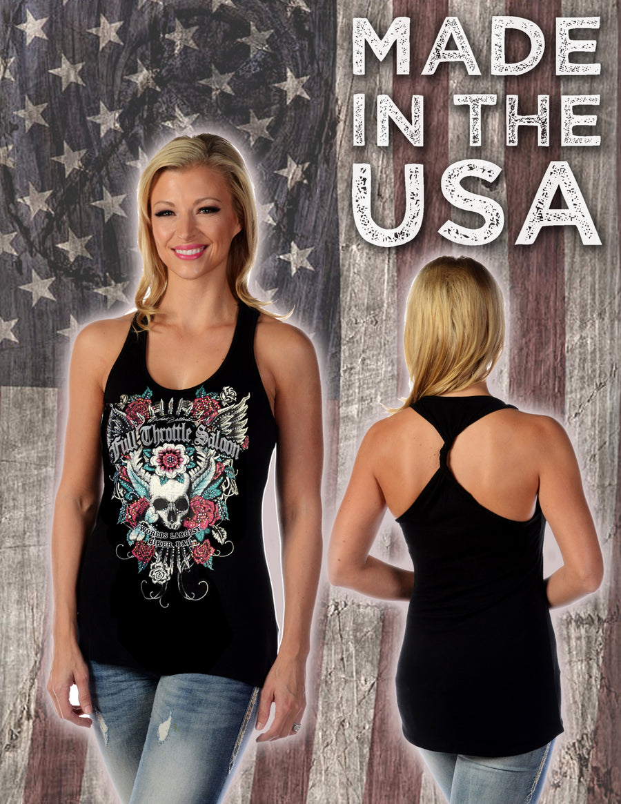 FTS Ladies Libertywear FT7662 - Women's Skull and Roses tank top with twisted back - black