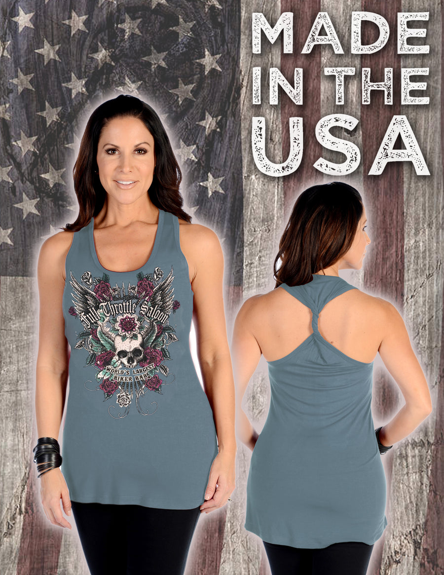 FTS Ladies Libertywear FT7662 - Women's Skull and Roses tank top with twisted back - blue