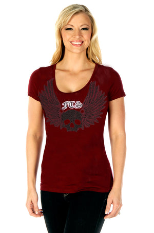 "FTS Ladies Libertywear FT7051 - Women's ""History Article"" burgundy short sleeved top"