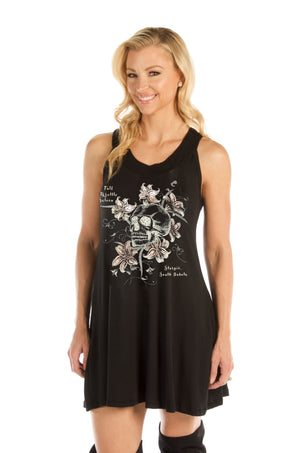 FTS Ladies Libertywear FT7577 - Women's Skull and Flowers Tunic Dress with lace-up back