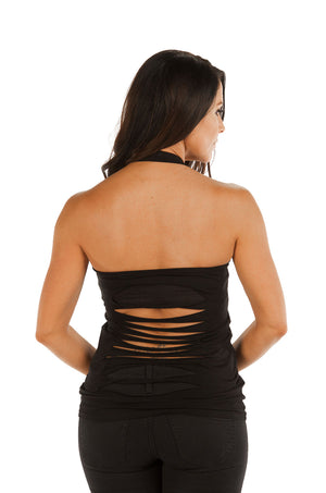 "FTS Ladies Libertywear FT7592 -  Women's ""Guns and Roses"" halter top with laser cut back - black"