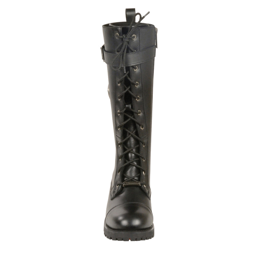Milwaukee Leather Boots MBL9355 Women's 14in Lace to Toe High Rise Leather Boots with Calf Buckle