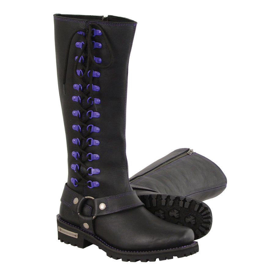 Milwaukee Leather Boots MBL9366 Ladies 14 Inch Leather Harness Boots with Purple Accent Lacing