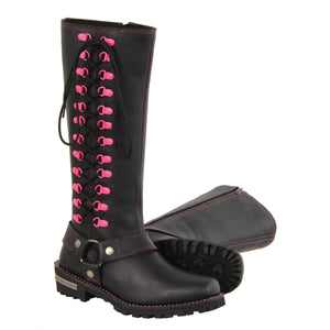 Milwaukee Leather Boots MBL9367 Ladies 14 Inch Leather Harness Boots with Fuchsia Accent Lacing