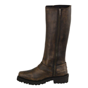 Milwaukee Leather Boots MBL9368 Ladies Distressed Brown 14 Inch Classic Harness Square Toe Leather Boot with Full Lacing