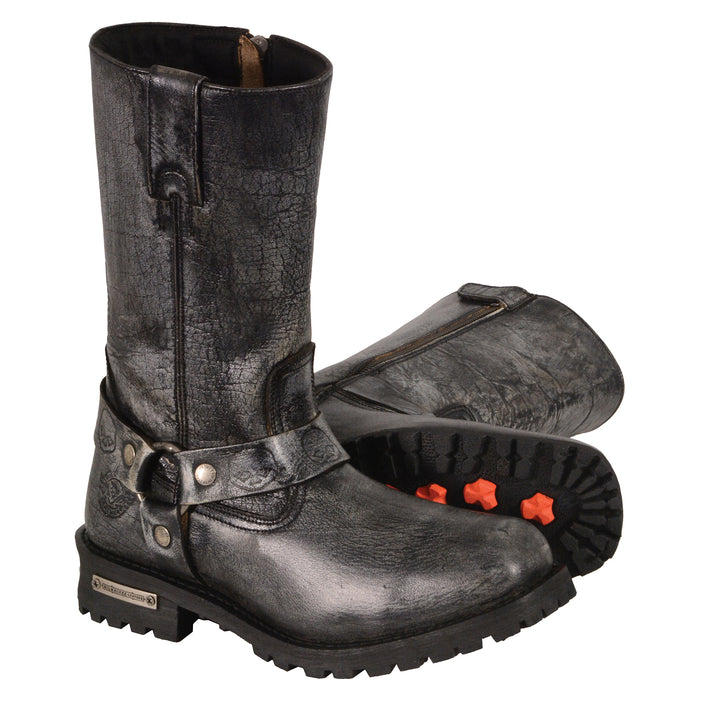 "Milwaukee Leather Boots-MBM9006-Men's Distressed Gray 11"" Inch Classic Harness Square Toe Boot"