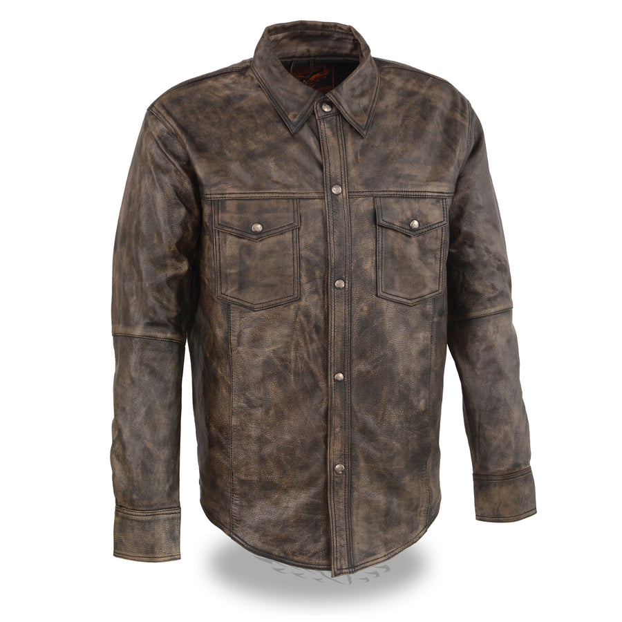 Milwaukee Leather-MLM1606-Men's Distressed Brown Lightweight Leather Snap Front Shirt