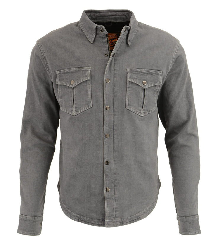 Milwaukee Performance-MPM1621-Men's Grey Armored Denim Biker Shirt w/ Aramid® by DuPont™ Fibers