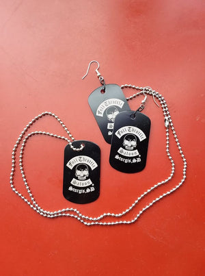 Full Throttle dog tag style necklace and earring set