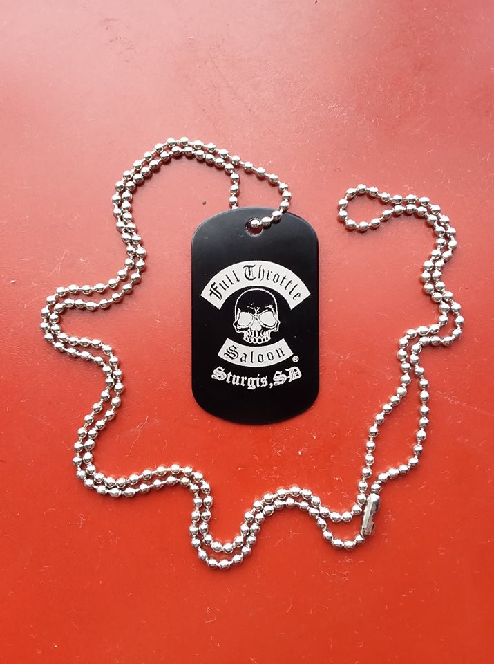 Full Throttle dog tag style necklace