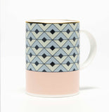 Tile Blush/Duck Egg Mug (Gold)