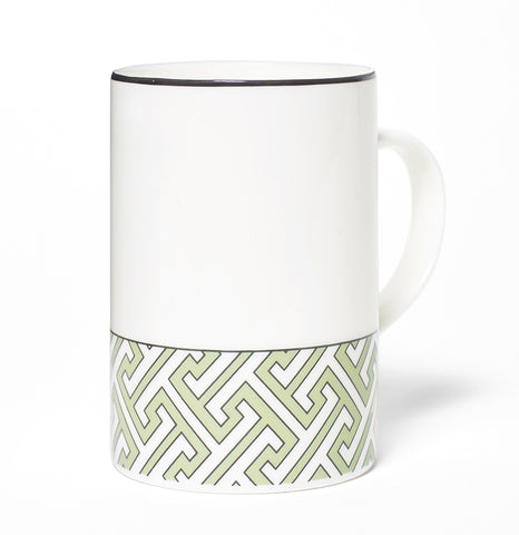 Maze Apple Green/White Mug (Thin Band)