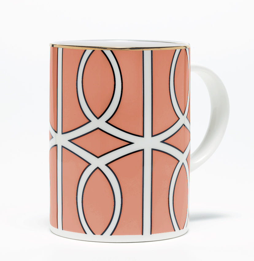 Loop Coral/White Mug (Gold)