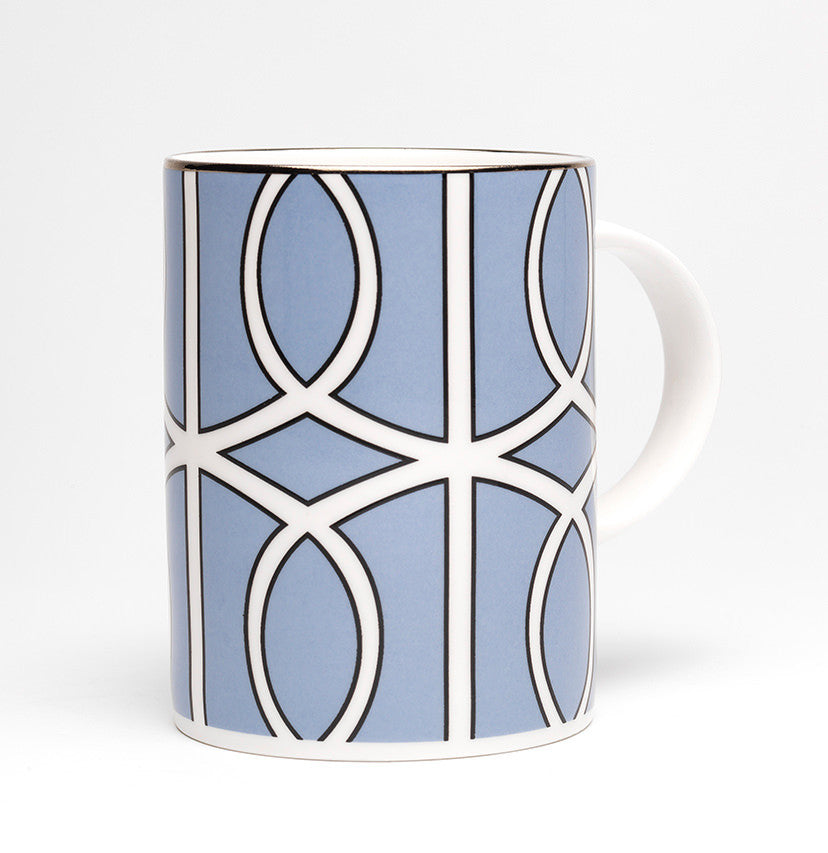 Loop Cornflower Blue/White Mug (Silver)