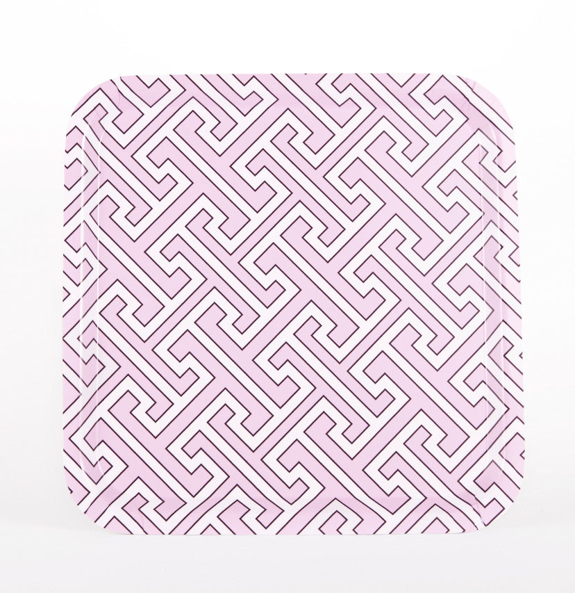 Maze Pink/White Square Tray