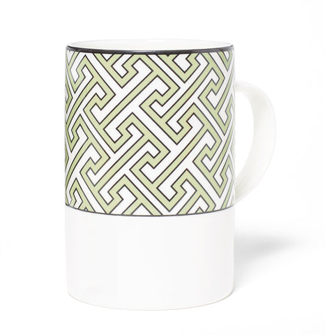 Maze Apple Green/White Mug (Thick Band)