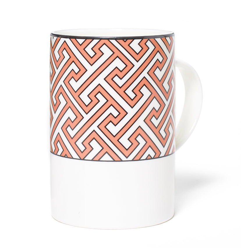 Maze Maxi Coral/White Mug - SOLD OUT