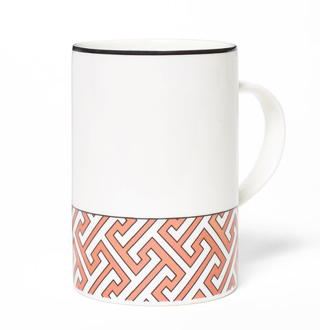 Maze Coral/White Mug (Thin Band)