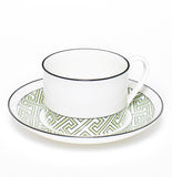 Maze Apple Green/White Teacup & Saucer
