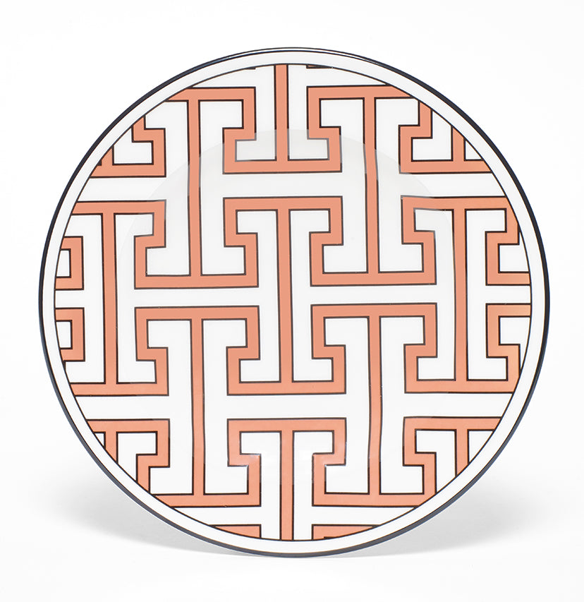 Maze Coral/White Teaplate All Over Design (Black)