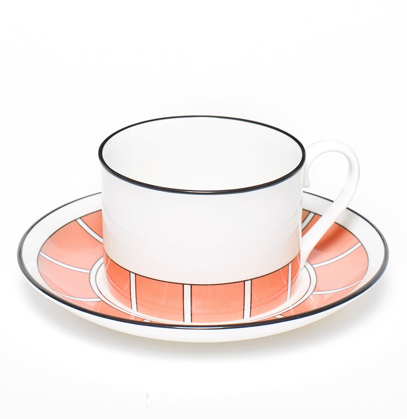 Stripe Coral/White Teacup & Saucer