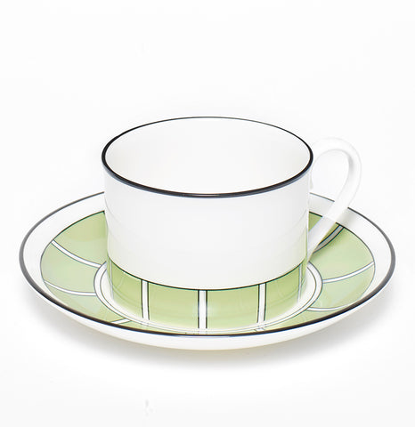 Stripe Apple Green/White Teacup & Saucer