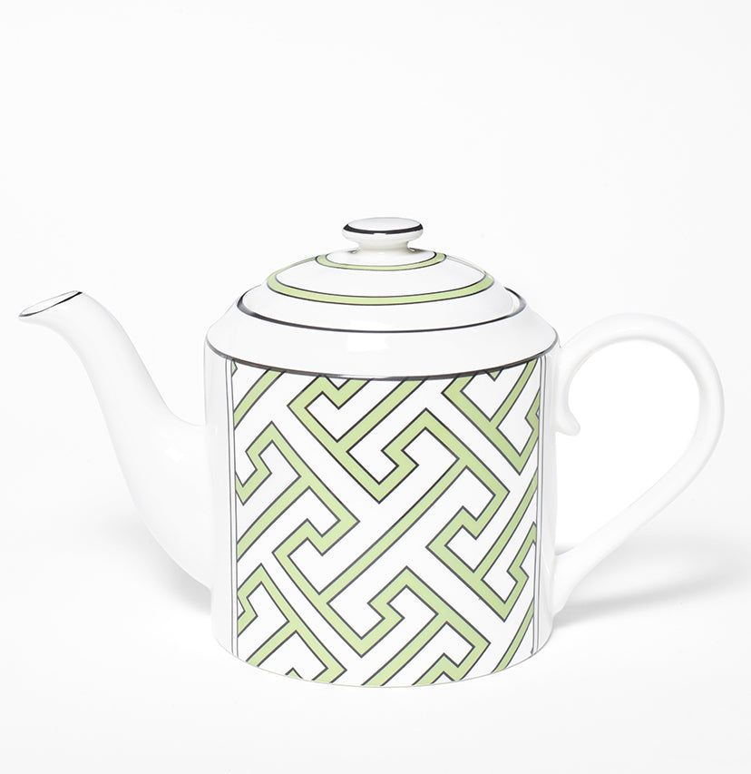 Maze Apple Green/White Teapot