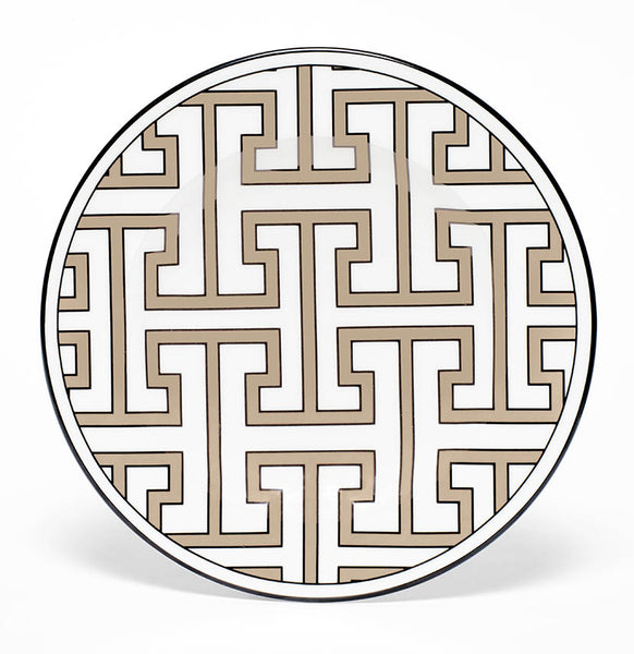 Maze Truffle/White Teaplate All Over Design (Black)