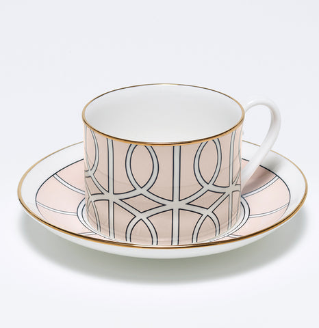 Loop Blush/White Teacup & Saucer (Gold)