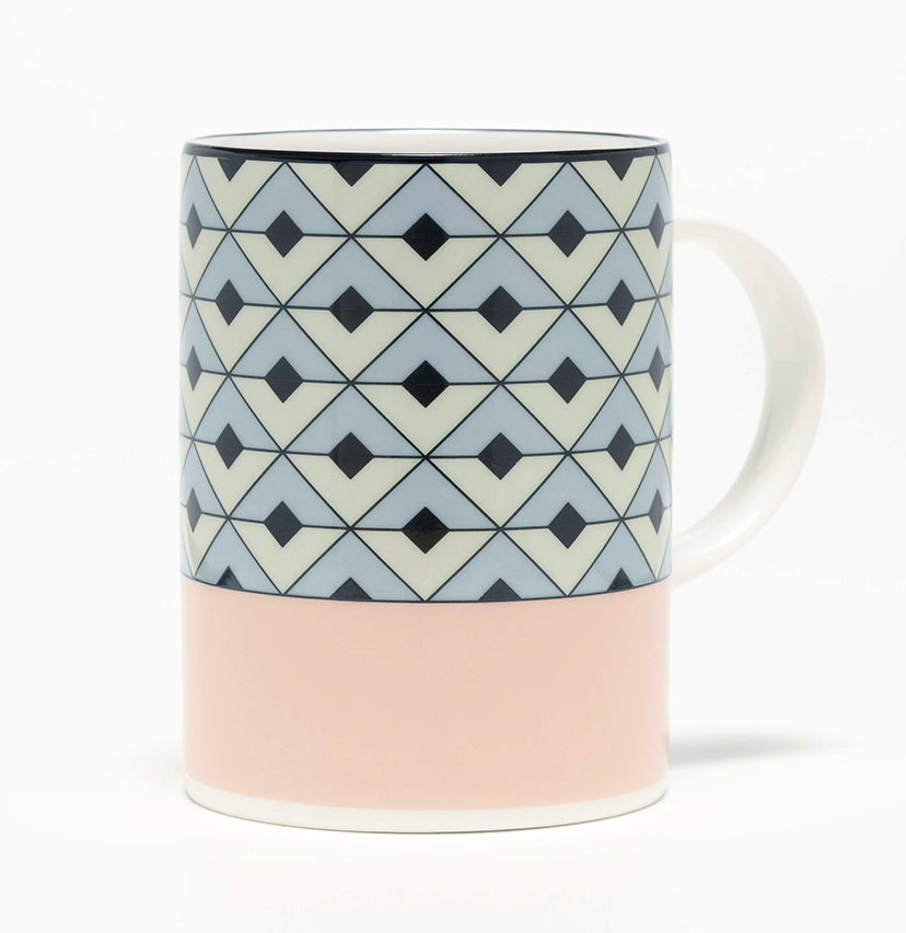 Tile Blush/Duck Egg Mug (Black)