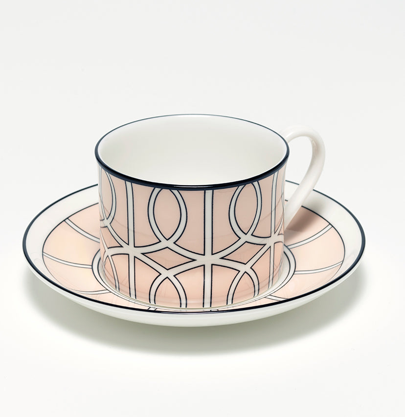 Loop Blush/White Teacup & Saucer (Black)