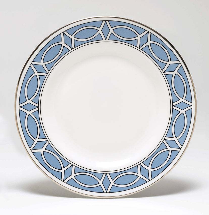 Loop Cornflower Blue/White Teaplate Outer Design (Silver)