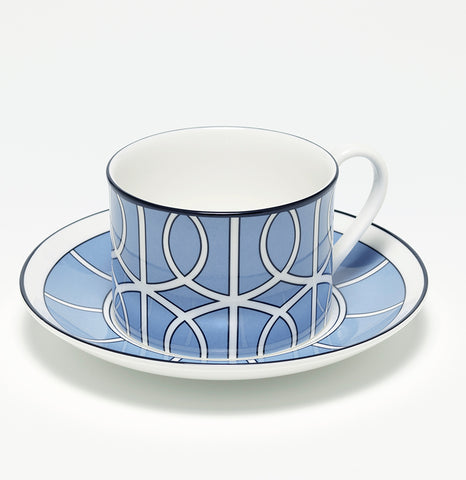 Loop Cornflower Blue/White Teacup & Saucer (Black)