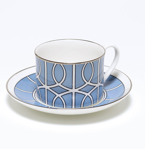Loop Cornflower Blue/White Teacup & Saucer (Silver)