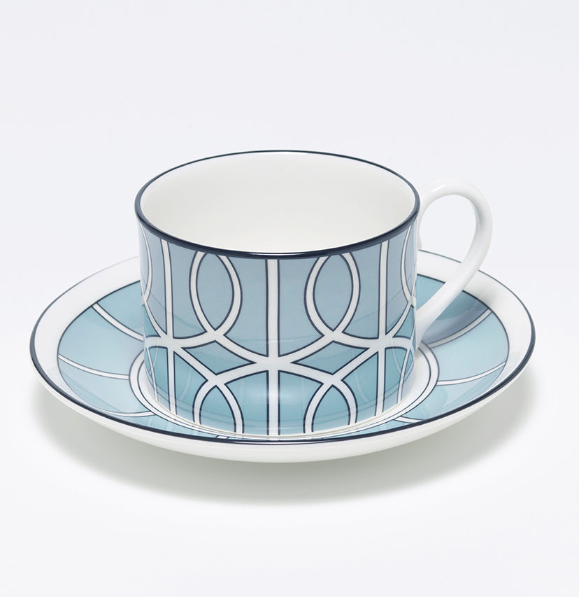 Loop Duck Egg/White Teacup & Saucer (Black)