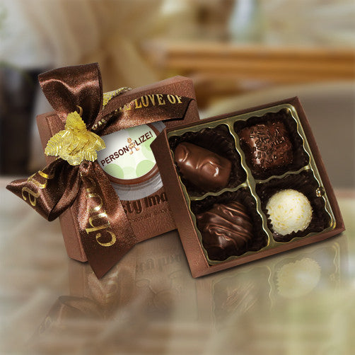 4 Piece Box w/ Personalized Chocolate Coin