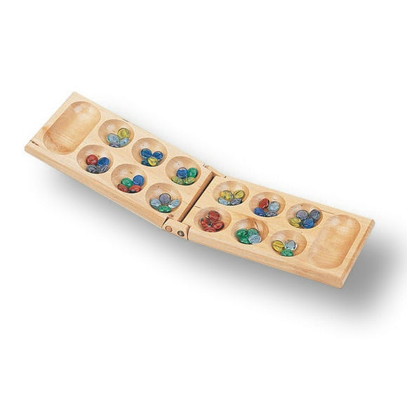 Classic Games Wooden Folding Classic Mancala Game with Glass Beads - Grizzly Supply Co