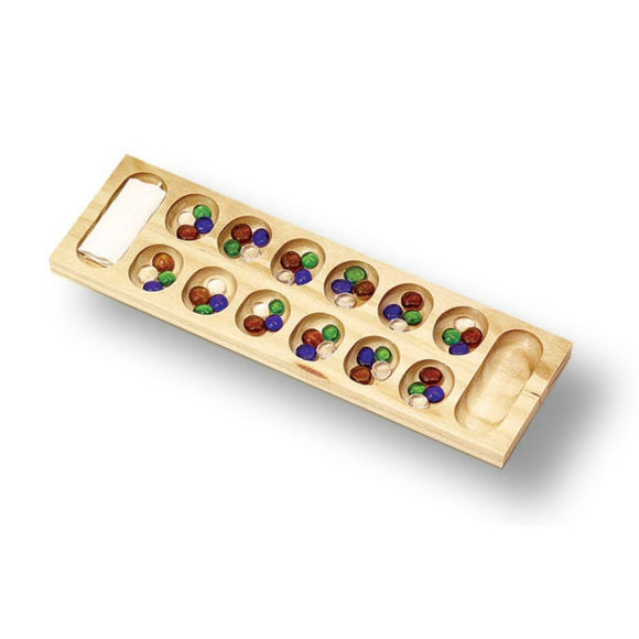 Classic Games Classic Wood Mancala Game with Glass Bead Game Pieces - Grizzly Supply Co