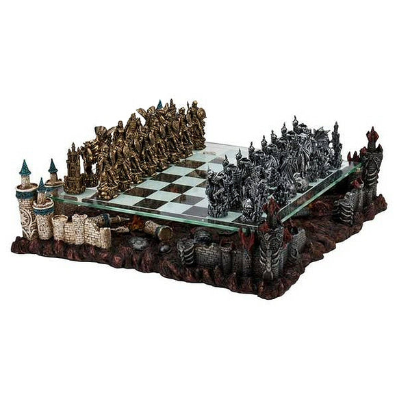 Deluxe Fantasy 3D Chess Set with Glass Chessboard and Pewter Chess Pieces
