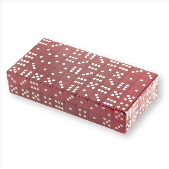 Translucent 18mm Red Game Dice with Rounded Corners, Set of 100 each