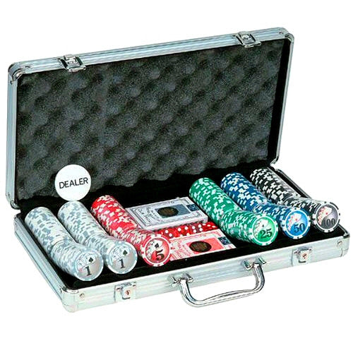 Game Room Big Number Poker Set with 300 Chips and Aluminum Case - Grizzly Supply Co