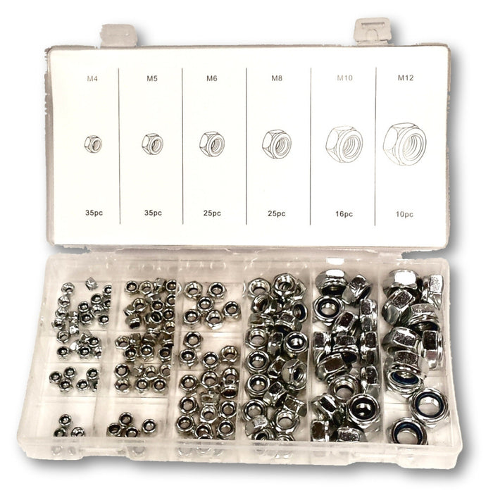 Metric Nylon Insert Lock Nut Hardware Kit with 146 Pc Assorted Sizes