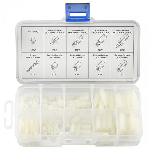 Nylon Hex Screw, Nut and Spacer 120 Piece Assorted Hardware Kit